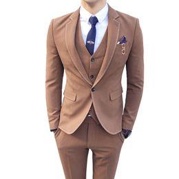 $enCountryForm.capitalKeyWord Australia - 2018 Zigzag Stitch 3 Piece Suit Brown Dark Grey Solid Color One Button Vestito Uomo Smoking Wedding Prom Suit Costume Homme