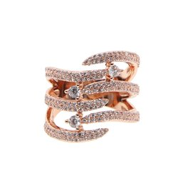 $enCountryForm.capitalKeyWord Australia - Fashion Stackable Rings rose Gold Color Cocktail Ring Tiny Pave CZ ring elegant delicate drop ship Jewelry for Women Anel