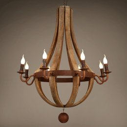 15 light bar online shopping - French Baroque wood chandelier retro wooden barrel e14 lamps old wrought iron dining room living room bar cafe Home lighing