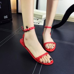 Flat Shoes Sandals For Women Australia - Plastic chain beach shoes candy color sandals chain flat bottomed out sandals simple design flat sandals for women