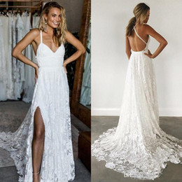 Discount beach side dresses - Sexy Deep V Neck Lace Beach Wedding Dresses Backless Sweep Train Tulle Split Side Country Bridal Gowns Custom Made Weddi