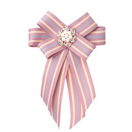 wedding corsage plastic UK - Ribbon Bow Brooch Tie Brooches Pin Bowknot Bowtie Bow Collar Pins Corsage Shirt Tie Cravat Wedding Party Jewelry Women Gift