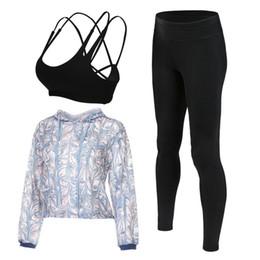 Yoga Pants Jacket UK - 2017 quick dry sport suit women yoga fitness set gym running sportswear 3 pieces shorts+bra+jacket leggings sport suits clothes