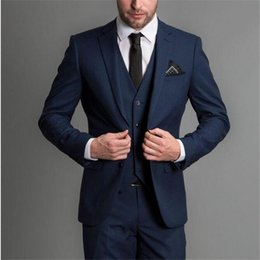 navy blue grey groom tuxedo Australia - Latest Design Navy Blue Wedding Groomsmen Suits Party Prom Suit Groom Tuxedos 3 Pieces Jacket+Pants+Vest+Tie 2020 Custom Made