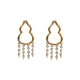 Venta al por mayor de El oro joyería fina pendiente 18k sólida del oro amarillo de la calabaza en forma de pendientes borla con los pernos prisioneros de la joyería del pendiente de la Mujer de la joyería al por may