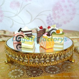 $enCountryForm.capitalKeyWord Australia - Gold plated new style crystal chain mirror cake stand fruit plate,Wedding supplies,home Decoration