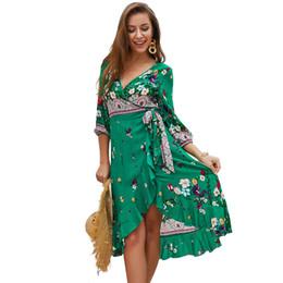 2b6f9eab9d8 Slimming Calf Length Summer Dresses UK - 2019 New summer female print dress  v-neck
