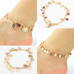 Discount sexy anklets charms - Free DHL Boho Palm Smile Face Charm Ankle Chains Bracelet Adjustable Sexy Beach Anklet Women Girl Fashion Foot Jewelry 2