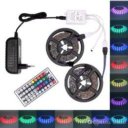 Mini Wired Controller Australia - RGB LED Strip Light 5050 5M 10M IP20 LED Light Rgb Leds Tape Led Ribbon Flexible Mini IR Controller DC12V Adapter Set