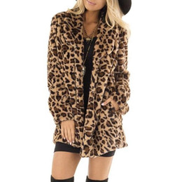 furs wholesale UK - Winter coat women 2019 Leopard vintage faux fur coat Street style long coats for ladies long sleeve warm thick fur coat#A3