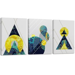 $enCountryForm.capitalKeyWord Australia - Canvas Wall Art Prints Abstract Geometry Blue Triangular Gold Circle Modern Framed Art Pictures for Living Room Bedroom Decor