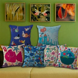 fish cushion pattern 2019 - Small Fish Pillowcase Printing Cushion Cover Square Cotton And Linen Pillow Case Sofa Home Decorate Mermaid Pattern 7my