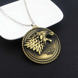 Wolf Pendant Men Australia - Promotion Game Of Thrones Necklace House Stark Winter Is Coming Metal Family Crest Pendant Jewelry Souvenirs Gift Maxi Wolf Punk Men
