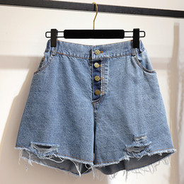 girls rip jeans size Canada - 5XL 6XL Women Summer Shorts plus size Denim Jeans Sexy High-Waist Ripped Hole buttons Korean Girl Casual loose Hot ShortJ C155