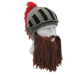 0779578436c 1 PC Men s Fashion Roman Helmet Red Tassel Barbarian Knight Knit Beard Hat  Handmade Face Mask Funny Beanie Ski Cap C18112301