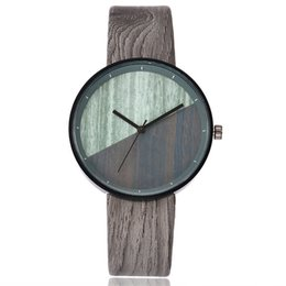 imitations watches UK - High VANSVAR Women Wood Texture Watch Imitation Wooden Vintage Leather Quartz Watch DSM