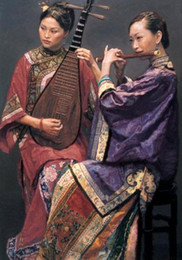 $enCountryForm.capitalKeyWord Australia - Duet nice Chinese young women playing Pipa and flute,High Quality Hand-painted portrait Art Oil painting On canvas,Multi sizes P002