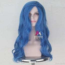Torunları Evie Sentetik Uzun Dalgalı Mavi Renk Cadılar Bayramı Partisi Cosplay Peruk indirimde