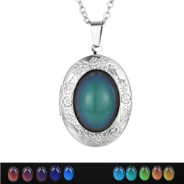 photo locket man NZ - Wholesale 20pcs LOT Oval Gem Locket Pendants Mood Necklaces Emotion Color change Women Men Lovers Photo Frame Box Choker Necklaces Gift XL52