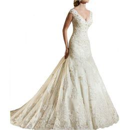 $enCountryForm.capitalKeyWord UK - 2019 Lace V Neck Wedding Dresses Applique Beaded Mermaid Sweetheart Puffy Wedding Dresses for Bride Robe De Mariee