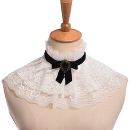 $enCountryForm.capitalKeyWord UK - Fake Collar Women White Lace Neck Ruff Bow-knot Ribbon Choker Necklace Cosplay props cosplay