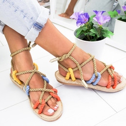 $enCountryForm.capitalKeyWord Canada - 2019 Summer Women Sandals Fashion Shoes Flat Sandals Rope Lace Up Casual Gladiator Non-slip Beach Shoes For Female