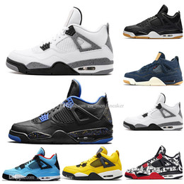 newest outdoor soccer shoes 2020 - Newest Bred 4 4s What The Cactus Jack Laser Wings Mens Basketball Shoes Denim Blue Tattoo Pale Citron Men Sports Designe