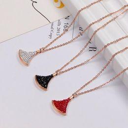 $enCountryForm.capitalKeyWord Australia - Korean version of the diamond small fan necklace titanium steel 18K rose gold clavicle chain starry items fashion zircon torque hot sale