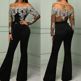 sexy long sleeve black jumpsuit NZ - Fashion Black Lace Jumpsuit Evening Dresses Off The Shoulder Sheath Pant Suits Prom Gowns With Long Sleeves Floor Length Formal Dress