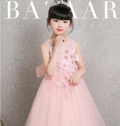 $enCountryForm.capitalKeyWord Australia - 2019 New Girls Pink Wedding Dresses Long Style Bead Appliques Lace Party Princess Birthday Dress First Communion Gown Flower Girl Gown