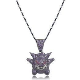 mens white gold chain necklaces UK - Hip Hop Jewelry Mask Gengar Necklace New Arrival Pendant Cubic Zircon Copper Necklace Iced Out Chain Mens Gift