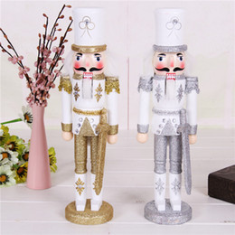 soldier cartoon NZ - 30CM Nutcracker Glitter Diamond Soldier Puppet Wooden Crafts Home Decoration Desktop Ornaments Christmas Birthday gifts Toy for Girl Kids