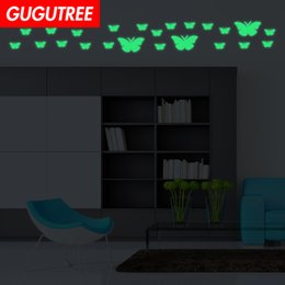 $enCountryForm.capitalKeyWord Australia - Decorate Home Diy buttlefly animal cartoon art glow wall sticker decoration Decals mural painting Removable Decor Wallpaper G-618