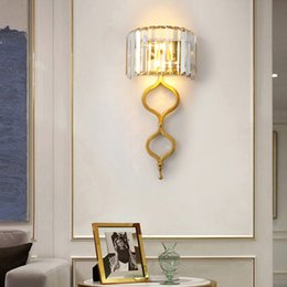 gold wall lighting NZ - New arrivals American modern crystal wall lamps wall lighting fixtures gold wall mount lights led sconce light for bedside porch kitchen