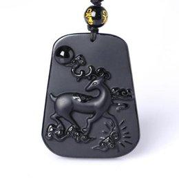 Security Pendant Australia - Lucky natural obsidian pendant   amulet security and peace auspicious deer Jade pendant necklace