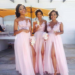 Sexy Black Women Bridesmaid Dress Australia - 2019 Chiffon Pink Long Bridesmaid Dresses Sheer Neck Cap Sleeves Appliqued Illusion Bodice Sexy Split Summer Black Women Maid Of Honor
