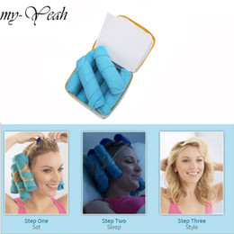 hair styler roller Australia - 8pcs Hair Rollers Sleep Styler Kit Long Cotton Curlers DIY Styling Tools Blue Color Magic Hair Dressing Charming Hairstyle