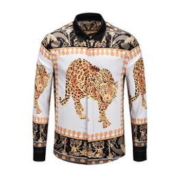 $enCountryForm.capitalKeyWord Australia - Meduda longshirts casual shirts Autumn winter Harajuku gold chain Dog Rose print Fashion Retro floral sweater Men's long sleeve tops shirts
