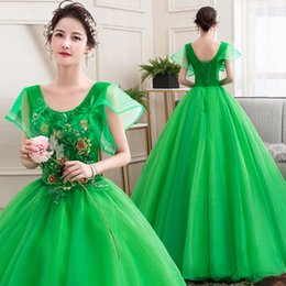 Female movie costumes online shopping - freeship green ball gown vintage rococo medieval dress Renaissance princess fairy cosplayVictorian dress Marie