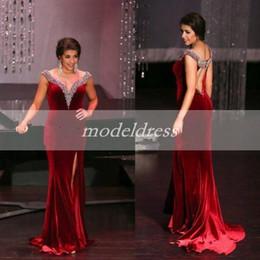 $enCountryForm.capitalKeyWord NZ - Arabic Velvet Dark Red Mermaid Evening Dresses 2019 Off Shoulder Hollow Back Crystal Beads Sweep Train Celebrity Gowns robes de soirée