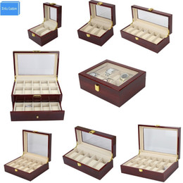 Luxury Display Cases Canada - Luxury Wood Storag Boxes Display 2 3 5 6 10 12 20 Watches Boxes Display Watch Box Jewelry Case Organizer Holder Promotion Boxes T190618