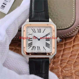square bezel NZ - TW Factory Square Mens Wristwatch Swiss 9015 Automatic 904L Steel Case Rose Gold Bezel Silver Roman dial Sapphire Crystal Italy Leather Stra