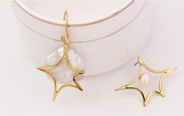 $enCountryForm.capitalKeyWord Australia - Europe and America Asymmetrical Earrings Creative Shaped Baroque Pearl Stud Earrings Fashion Star Earrings
