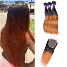Silky Brazilian Human Hair Extensions Australia - Colored Brazilian Hair Weave Bundles With Closure Silky Straight Dark Root T 1B 30 Human Hair Extensions Ombre Brown Hair Short Bob Style