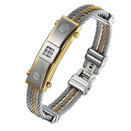 Gift Jewelery UK - Jewelery Light Surface Bracelet Between Three Row Stainless steel Punk Wire Of Titanium Steel Mens rope Bracelets with diamond Birthday Gift