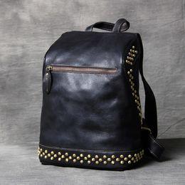 $enCountryForm.capitalKeyWord NZ - Black Notebook Bags Backpacks Female Retro Genuine Leather Women Rucksack Bag Handmade Leather School Back Pack Studded Bags