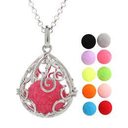 $enCountryForm.capitalKeyWord Australia - Silver Plated Waterdrop Aromatherapy Essential Oil Locket Lava Beads Angel Bola Chime Ball Pendant Diffuser Ball Charms Pregnant Necklace