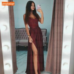 $enCountryForm.capitalKeyWord Australia - Sexy Burgundy V-Neck Prom Dresses Long Slim Fit Lace Appliques Spaghetti Strap Side Slit A Line Evening Gowns Women Party Dress