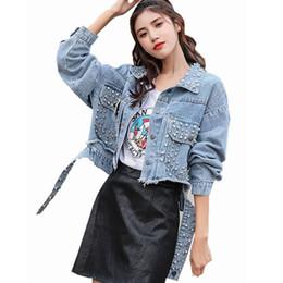 $enCountryForm.capitalKeyWord Australia - Fashion Rivet Denim Jackets Autumn Winter Women Wash Vintage Loose Casual Beading Jean Jacket Bomber Denim Basic Coat Female