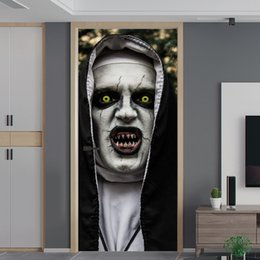 $enCountryForm.capitalKeyWord Australia - Wholesale Romantic Landscape 3D Halloween Ghost Wall Door Stickers Murals Removable Waterproof PVC Decals for Home Decoration
